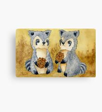 Silly Raccoons & Pinecones Canvas Print