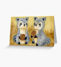 Silly Raccoons & Pinecones Greeting Card