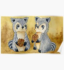 Silly Raccoons & Pinecones Poster