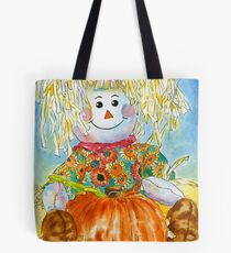 Scarecrow Girl Doll & Pumpkin Tote Bag