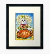 Scarecrow Girl Doll & Pumpkin Framed Print