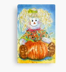 Scarecrow Girl Doll & Pumpkin Metal Print