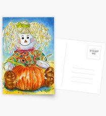 Scarecrow Girl Doll & Pumpkin Postcards