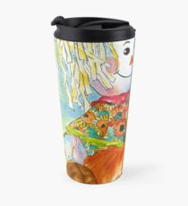 Scarecrow Girl Doll & Pumpkin Travel Mug