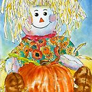 Scarecrow Girl Doll & Pumpkin by Hajra Meeks