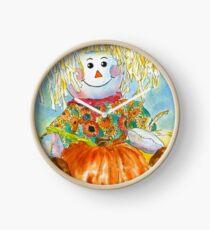 Scarecrow Girl Doll & Pumpkin Clock