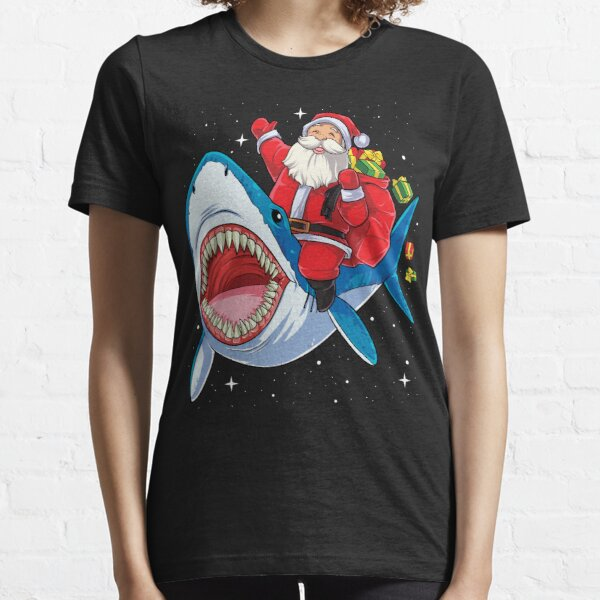 Santa Riding Shark T Shirt Christmas Gifts Galaxy Space Tees Essential T-Shirt