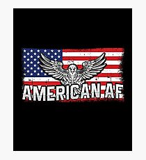 American AF With America USA Distressed Flag And Eagle Photographic Print