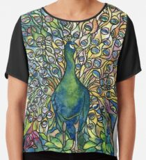 Stained Glass Peacock Chiffon Top