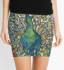 Stained Glass Peacock Mini Skirt