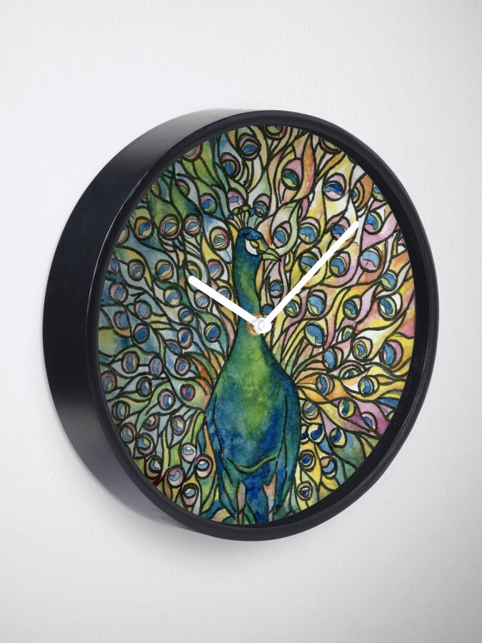 Alternate view of Stained Glass Peacock Clock