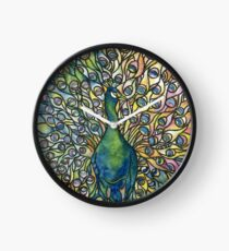 Stained Glass Peacock Clock