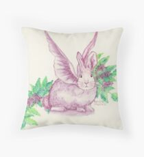 Winged Runaway Bunny Throw Pillow