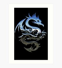 Metal Blue Dragon Art Print