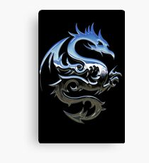 Metal Blue Dragon Canvas Print