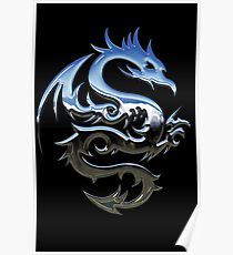 Metal Blue Dragon Poster