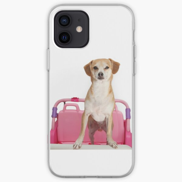 Terrier Dog in Pink Car iPhone Soft Case