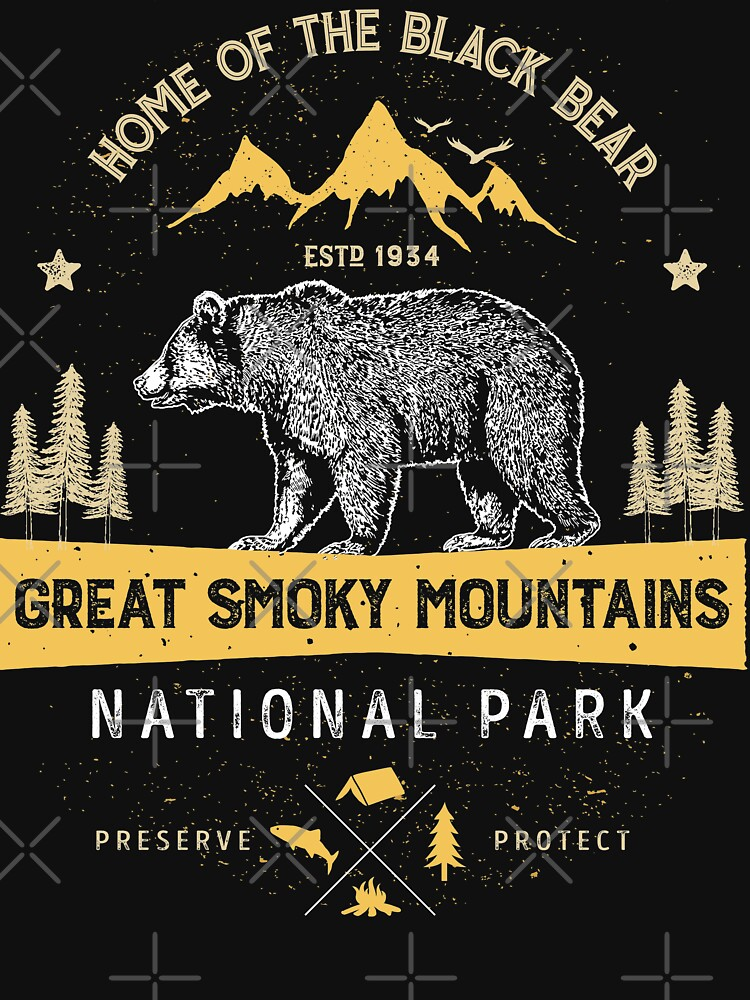 Great Smoky Mountains National Park Shirt Bear Vintage Gift Ideas T-shirt by LiqueGifts
