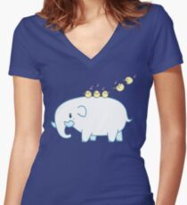 Little Lephant Women's Fitted V-Neck T-Shirt