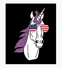 Unicorn With American Flag USA Aviator Sunglasses  Photographic Print