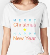 Holiday Greetings in Watercolor – Blue, Turg, Orange and Red Women's Relaxed Fit T-Shirt