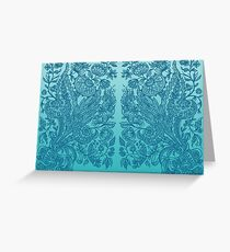 Blue Ornaments Floral Art Greeting Card
