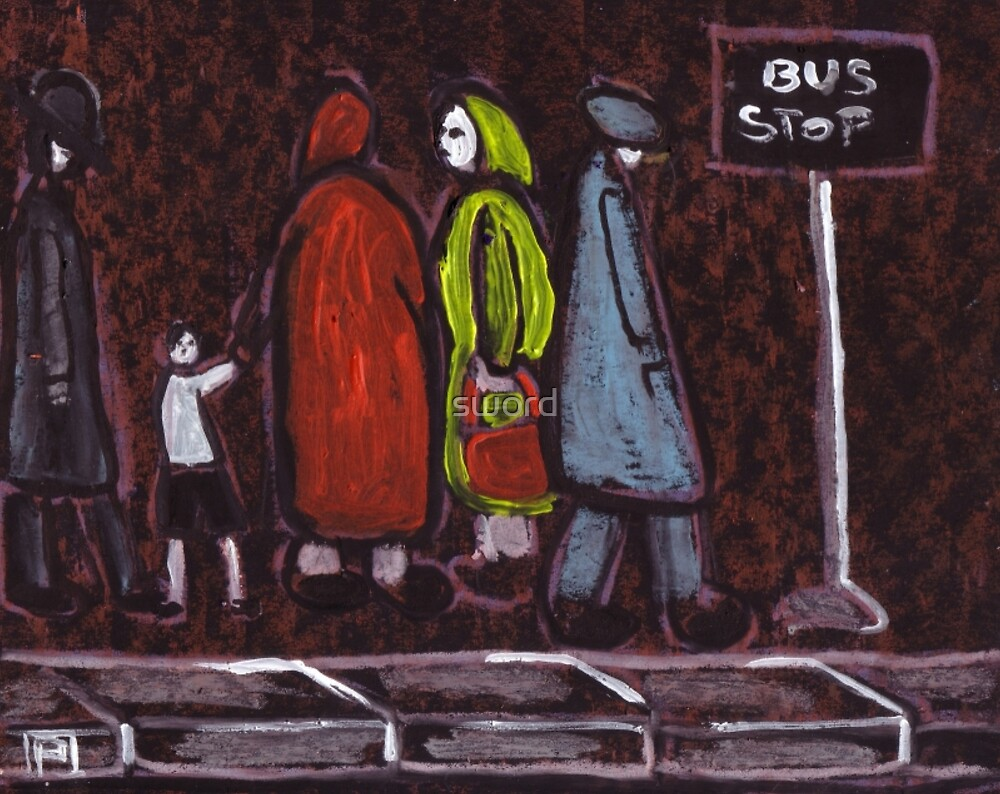 People at a bus stop by sword