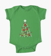 Christmas Tree Kids and Sparkling Stars One Piece - Short Sleeve