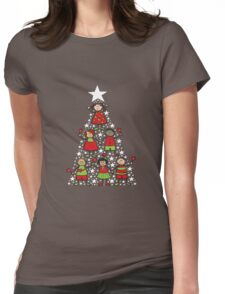 Christmas Tree Kids and Sparkling Stars Womens Fitted T-Shirt