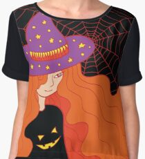 Witch girl in the hat and web Women's Chiffon Top