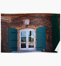 Shuttered Doorway Reflections, Viansa Winery, California Poster