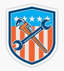 Spanner Monkey Wrench Crossed USA Flag Shield  Sticker