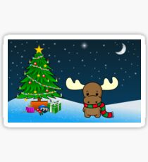 Reindeer With Christmas Tree Graphic Art Sticker