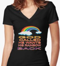 Christian Rainbow Funny  Gifts and Apparel Women's Fitted V-Neck T-Shirt