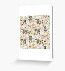 Dachshunds and Dogwood Blossoms Greeting Card