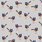 Little Blue Wrens on Smokey Grey by ThistleandFox
