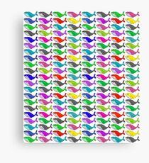Rainbow whales Canvas Print