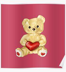 Pink Cute Teddy Bear Poster