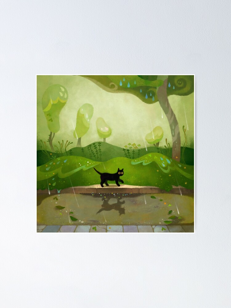 Alternate view of Kitty on a rainy day Poster