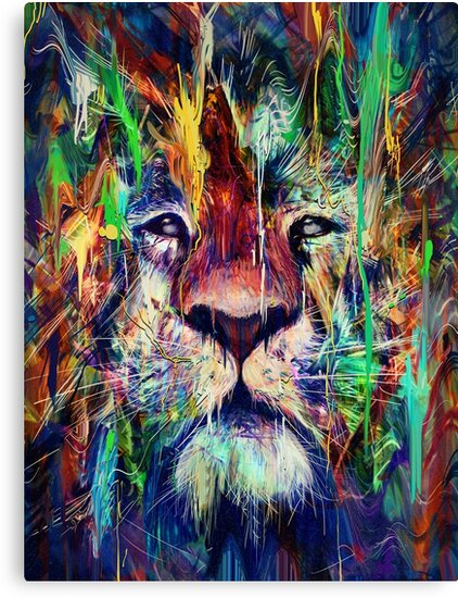 Trendy Cat Wall Decor - Lion Canvas Print - Colorful Big Cat