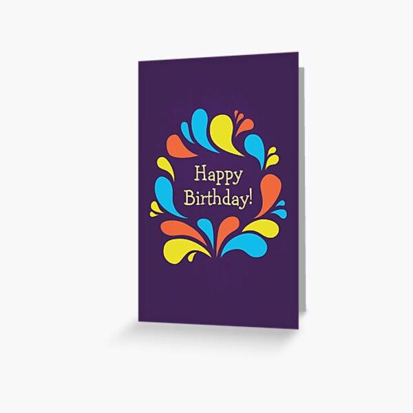 Funky Colorful Swirls Happy Birthday  Greeting Card