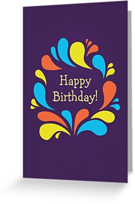 Funky Colorful Swirls Happy Birthday  by Boriana Giormova