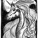 Unicorn At Nighttime in the Clouds by Fiona Lokot