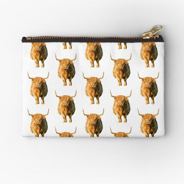 Shaggy Highland Cow Zipper Pouch
