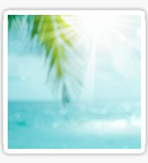 Blur beautiful nature green palm leaf on tropical beach with bokeh sun. Sticker