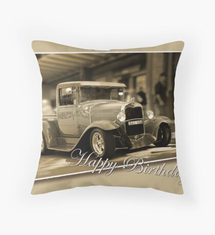 vintage car card Throw Pillow