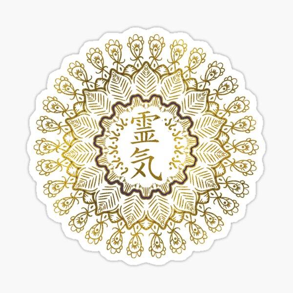 Reiki Healing Symbols in gold mandala Sticker
