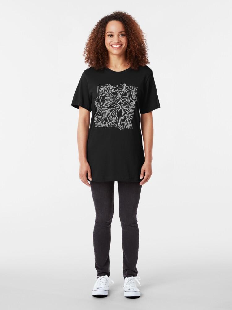 Alternate view of Optical Illusion Minimal Lines Slim Fit T-Shirt