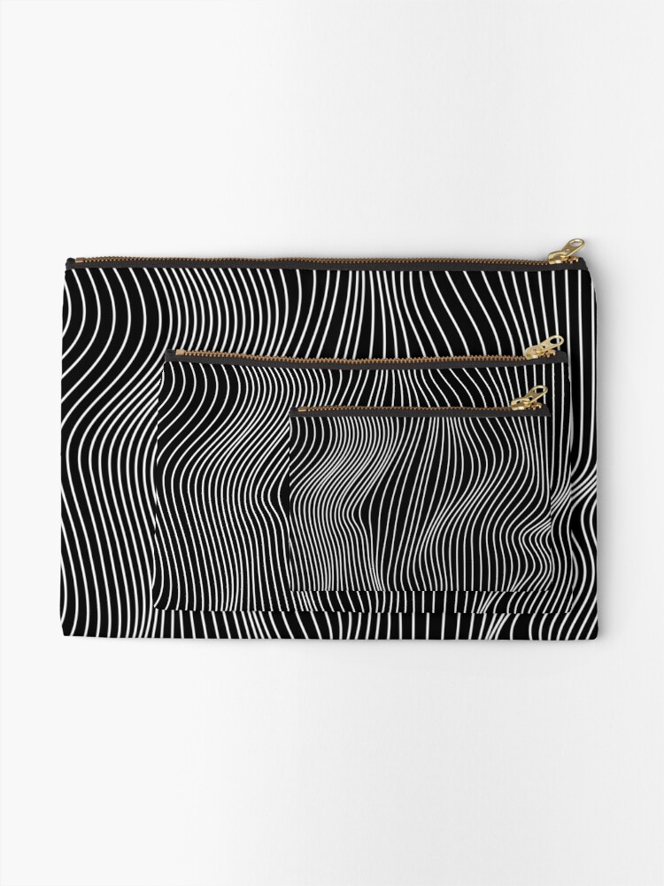 Alternate view of Optical Illusion Minimal Lines Zipper Pouch