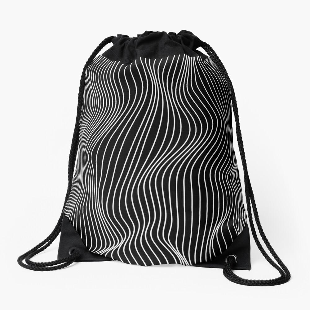 Optical Illusion Minimal Lines Drawstring Bag
